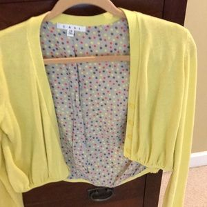Pale yellow long sleeve cropped sweater